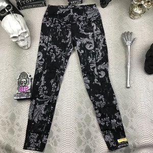 Betsey Johnson black grey floral workout pants